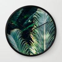 palm tree Wall Clocks featuring Palm Tree by Pati Designs