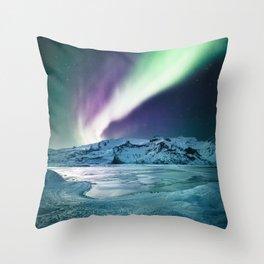 aurora in iceland Throw Pillow