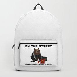 Smoking Gopnik slav bear wearing ushanka squat on the street with semechki and vodka with text Backpack