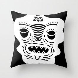 stencil face TEE invert Throw Pillow