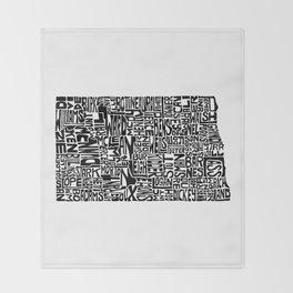 Typographic North Dakota Throw Blanket