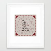 all you need is love Framed Art Prints featuring All You Need Is Love by LLL Creations