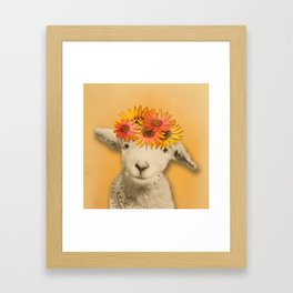 Daisies Sheep Girl Portrait, Mustard Yellow Texturized Background Framed Art Print