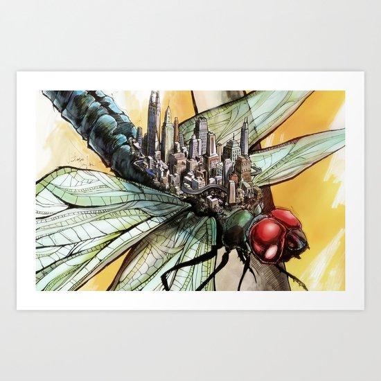 Dragonfly City Art Print