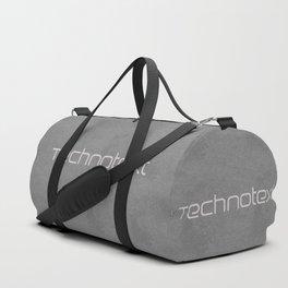 Grey Leather Technotext Duffle Bag