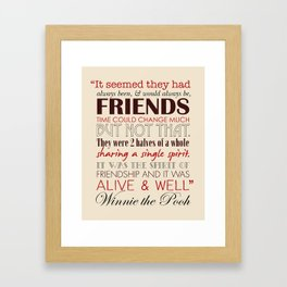 Winnie the Pooh Friendship Quote - Tan & Red Framed Art Print