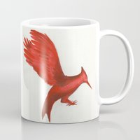 mockingjay Mugs featuring Mockingjay CatchingFire by Blanca MonQnill Sole