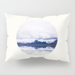 Mid Century Modern Round Circle Photo Graphic Design Navy Blue Arctic Mountains Pillow Sham