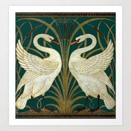 Walter Crane's Swan, Rush, Iris Art Print