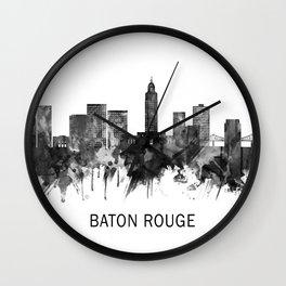 Baton Rouge Louisiana Skyline BW Wall Clock
