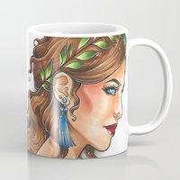 goddess Mugs featuring Goddess by Little Lost Forest