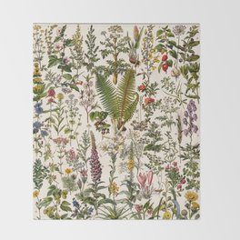 Adolphe Millot - Plantes Medicinales B - French vintage poster Throw Blanket