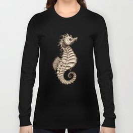 """Fantasy Seahorse"" by Amber Marine ~ (Vintage) ~ Ink Illustration, (Copyright 2016) Long Sleeve T-shirt"
