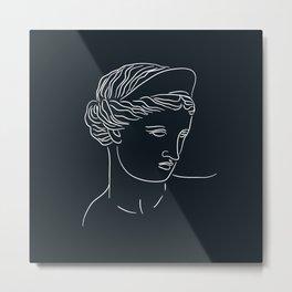 Aphrodite Minimalism Line Art - Dark Academia Inspired Metal Print