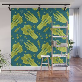 Hand drawn flat illustration of celery vegeteble. Cute cartoon pattern of vegetarian food Wall Mural