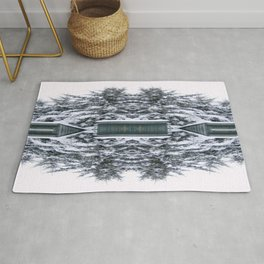 Winter Kaleidoscope Teal and White Snow Covered Trees Rug