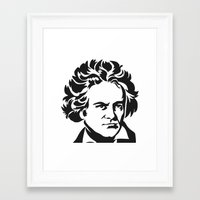 beethoven Framed Art Prints featuring Beethoven by b & c
