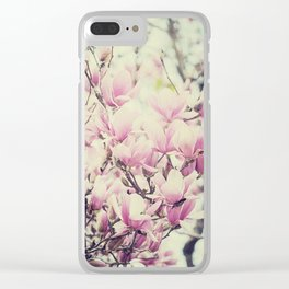 Purple Magnolia Blossoms Spring Botanical Clear iPhone Case
