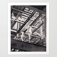 nudes and structural steelwork Art Print