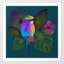 Tropical bird and exotic flowers summer painting Art Print
