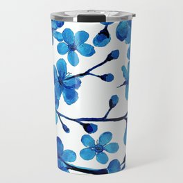 Cherry Blossom Blues, in watercolor Travel Mug