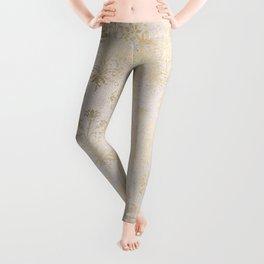 Elegant Cream and Gold Diamond Damask Leggings
