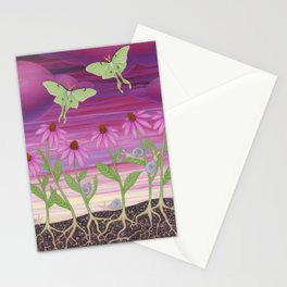 echinacea daydream with luna moths and snails Stationery Cards