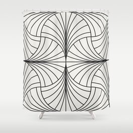 Diamond Series Inter Wave Charcoal on White Shower Curtain