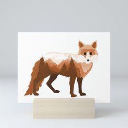 Fox Vixen Red Double Exposure Surreal Wildlife Native Animal Mini Art Print