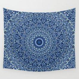 Sacred Blue Garden Mandala Wall Tapestry
