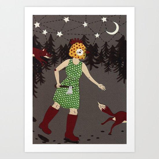 Fox chasing Art Print