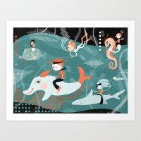 underwater Art Prints featuring underwater by Orit Bergman