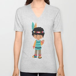 Cute Boy, Native American Boy, Black Hair Unisex V-Neck
