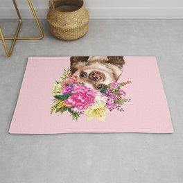 Flower Crown Baby Sloth in Pink Rug