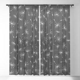 Flying Dandelions Black White Sheer Curtain