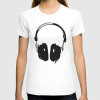 headphones T-shirts featuring HEADPHONES by by INK! - Sandie Dolleris Thomsen