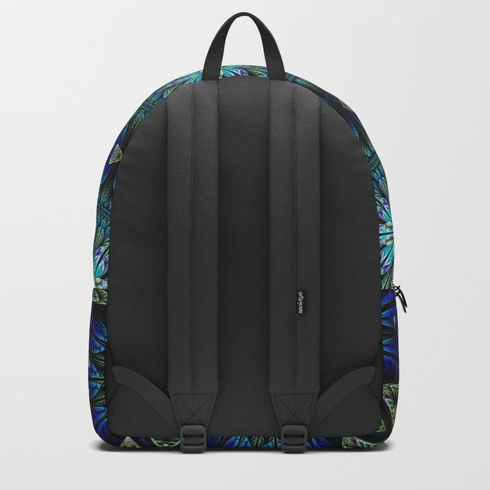 Blue fantasy flower and petals Backpack