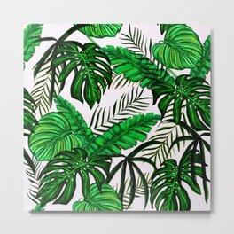 Tropical Jungle Leaf Pattern Green White Metal Print