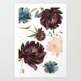 Chic Watercolor Flowers Art Print