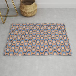 Retro Modern Abstract Feather Stripes in Classic Blues and Muted Orange Desert Colors Rug