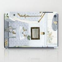 bathroom iPad Cases featuring In The Bathroom by Yuliya