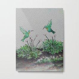 Hummingbirds and Hostas gone Digital Metal Print