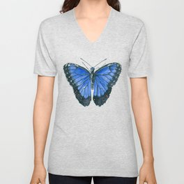 Blue Morpho butterfly watercolor painting Unisex V-Neck