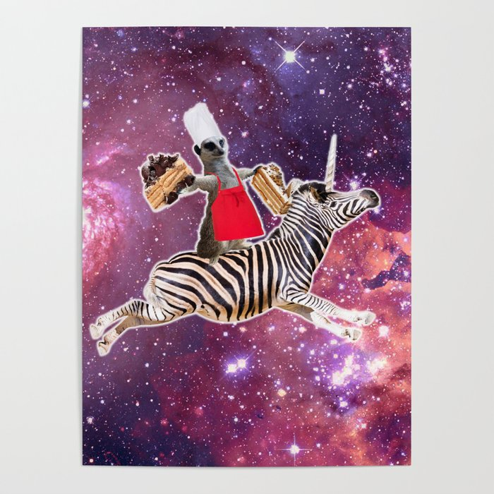 Lemur Riding Zebra Unicorn Eating Cake Poster