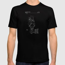 NASA Space Suit Patent - White on Black T-shirt
