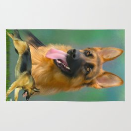 German Shepherd Breed Art Rug
