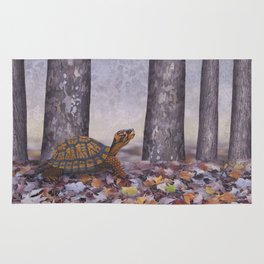 eastern box turtle in the forest Rug