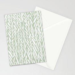 Light green herringbone pattern with cream stripes Stationery Cards