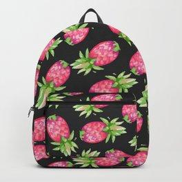 Hot pink green black tropical watercolor pineapple fruit Backpack