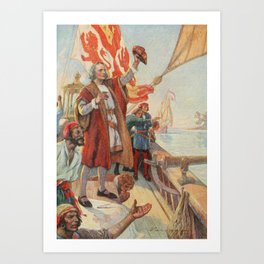 School Histhe United States 1918 - Columbus discovers land in America 1492 Art Print